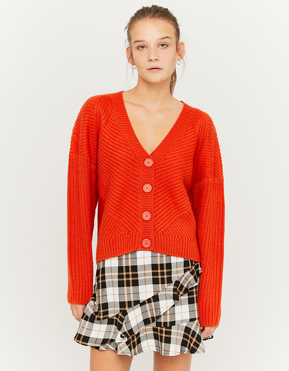 Orange Heavy Knit Cardigan