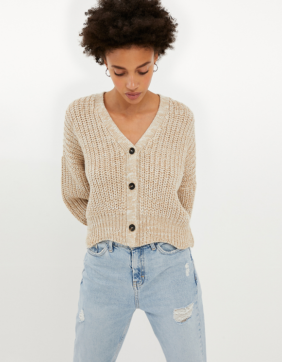 Beige Cardigan with Buttons