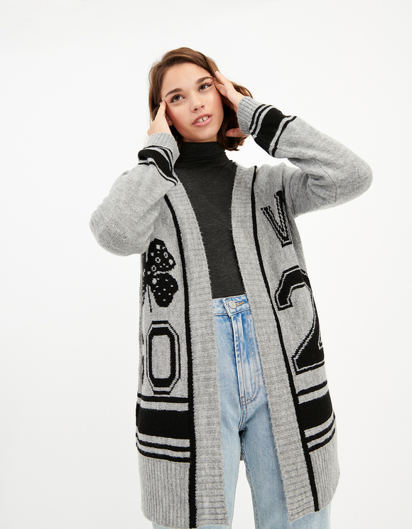 Cardigan Long Noir & Gris