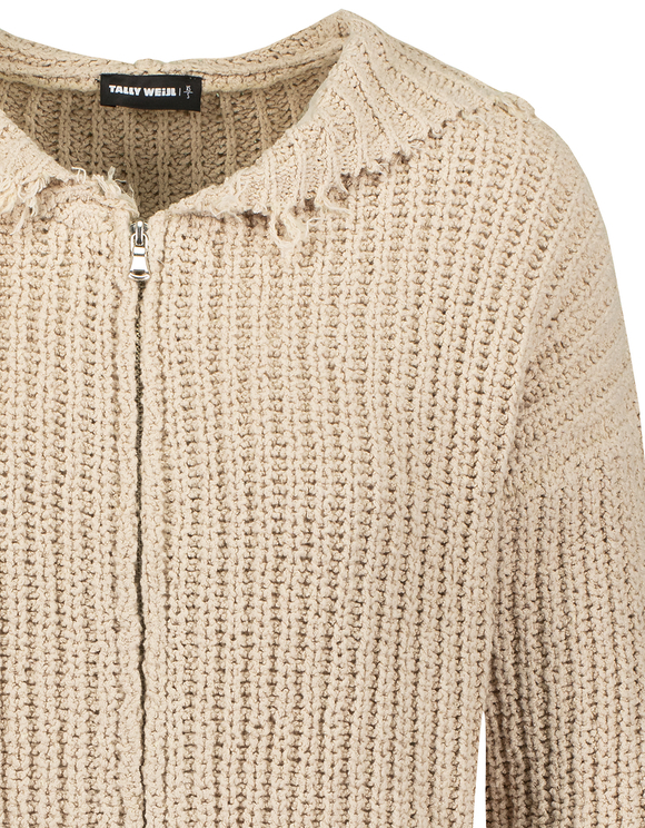 Beige Destroyed Cardigan