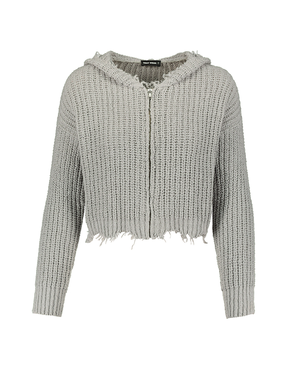 Grey Destroyed Cardigan