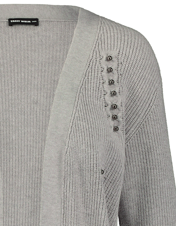 Grey Long Cardigan with Pearl