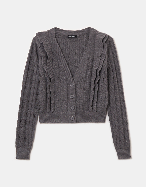 Grey Ruffle Cardigan