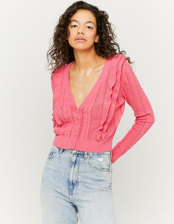 Pink Ruffle Cardigan