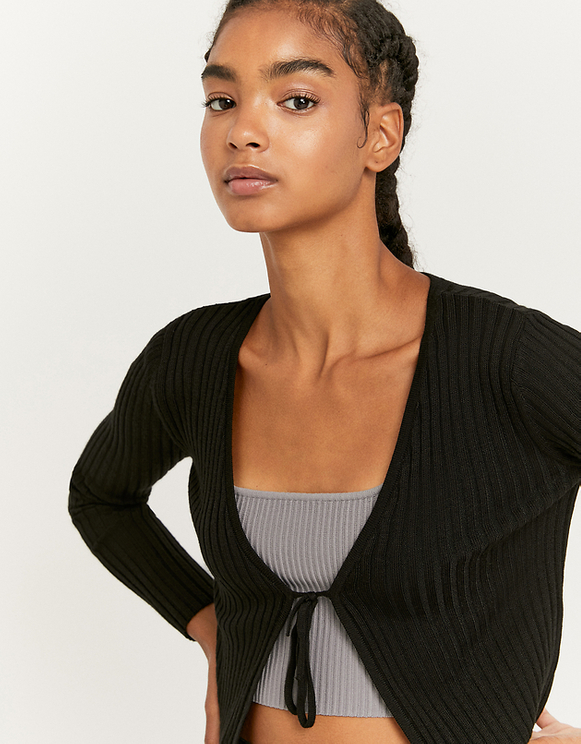 Black Knotted Cardigan