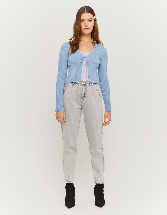 Light Blue Tie Front Cardigan