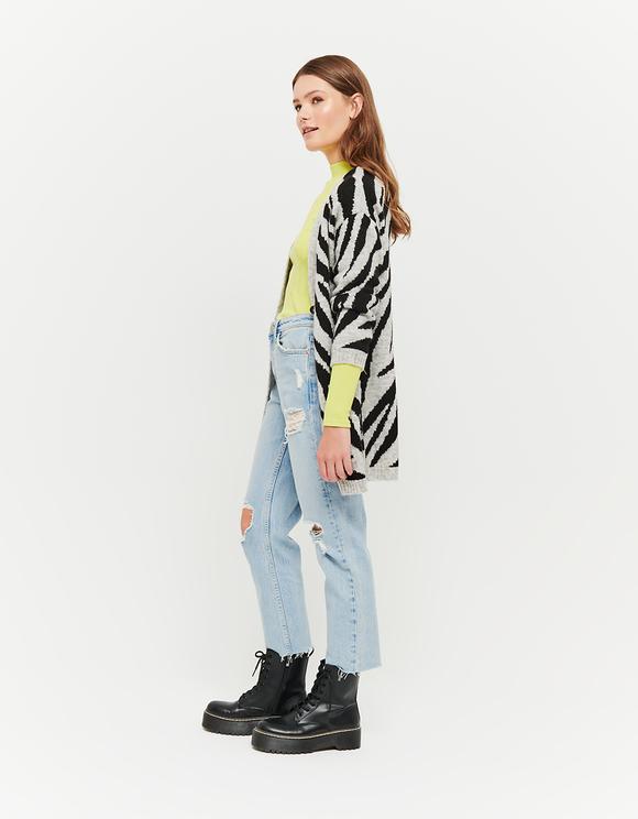 Langer Cardigan mit Zebra-Muster