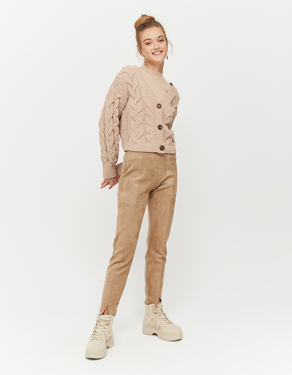 Beige Cable Knit Cardigan