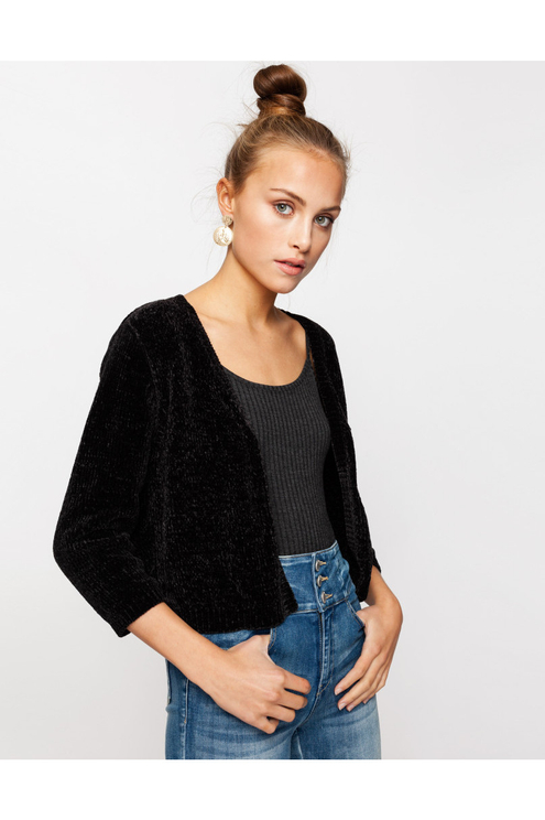 Chenille Cropped Cardigan