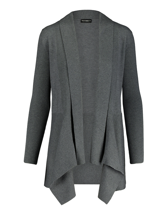 Grey Cardigan with Shawl Collar