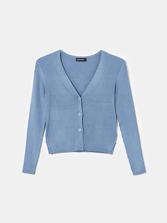 Blue Cropped Ribbed Cardigan