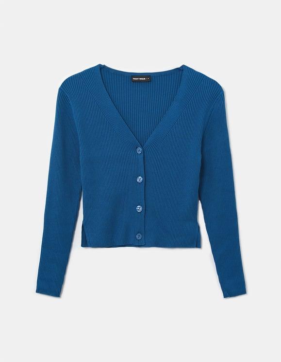 Blue Cropped Ribbed Cardigan
