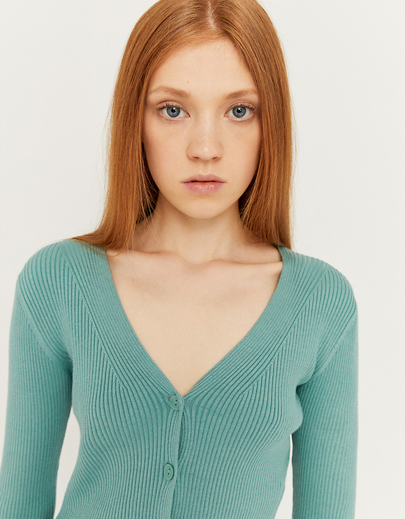 Green Cropped Ribbed Cardigan
