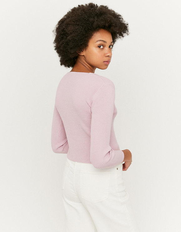 Lilac Cropped Ribbed Cardigan