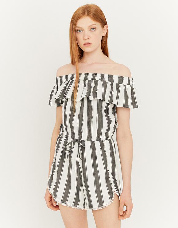 Striped Off Shoulder Playsuit