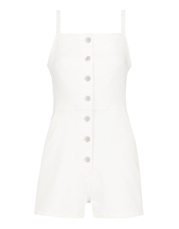 White Butonned Playsuit
