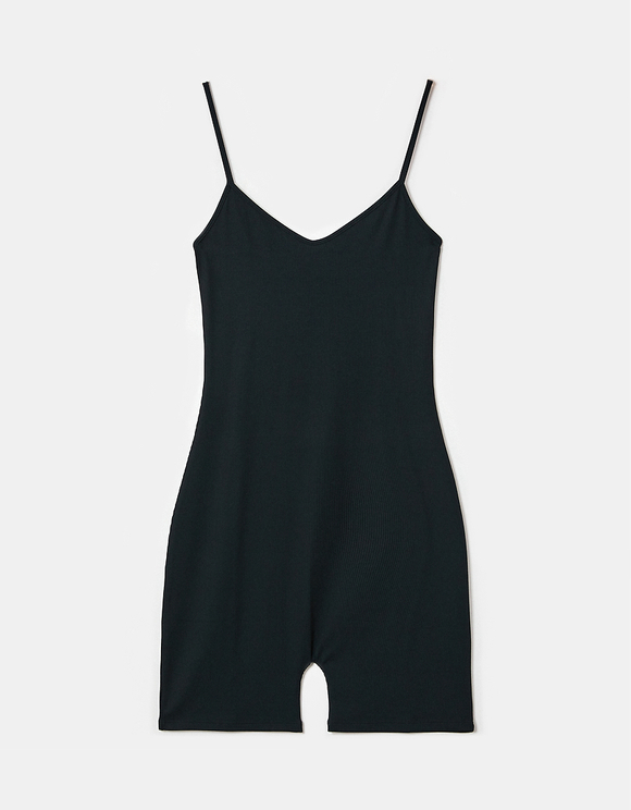 Black Cycling Playsuit