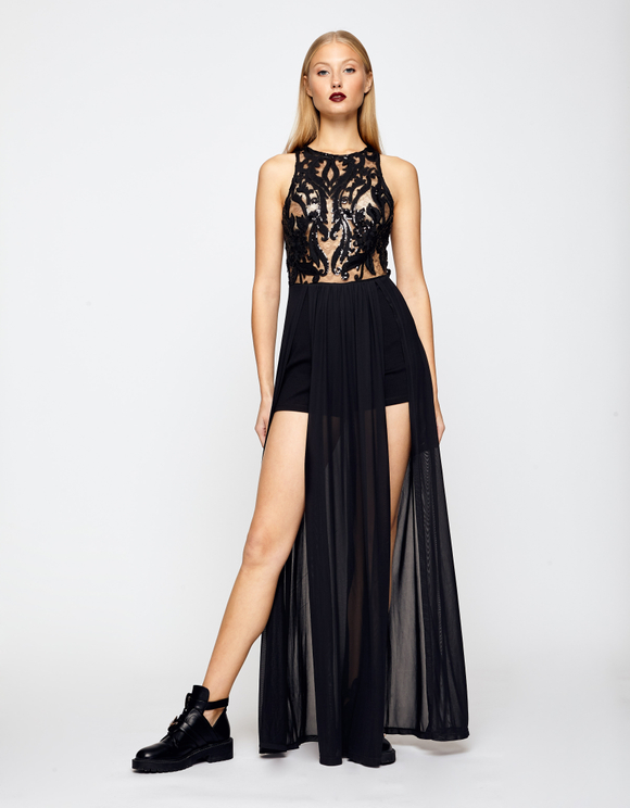 Black Playsuit with Long Skirt