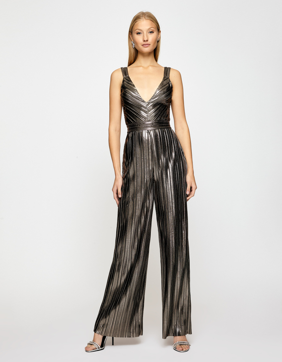 Silver Pleated Jumpsuit
