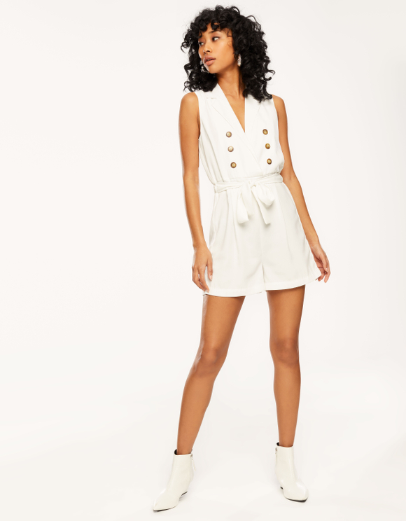 White Buttoned Playsuit