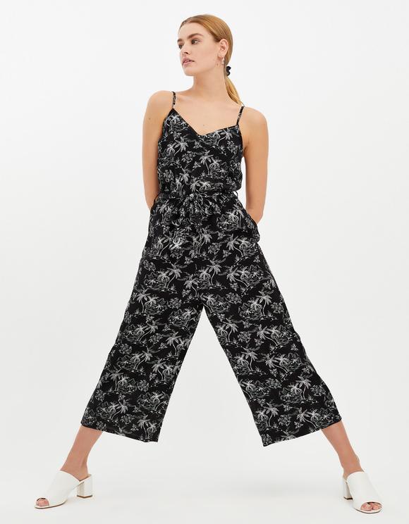 Black Tropical Print Jumpsuit