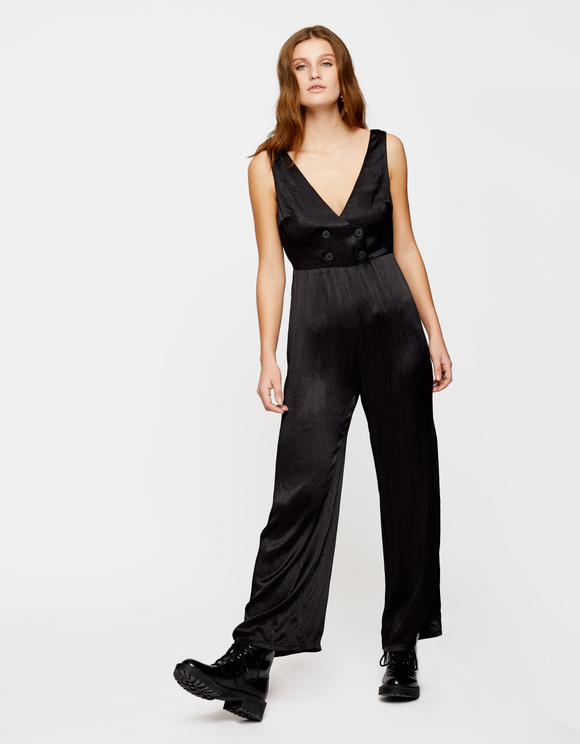 Black Buttonned Jumpsuit