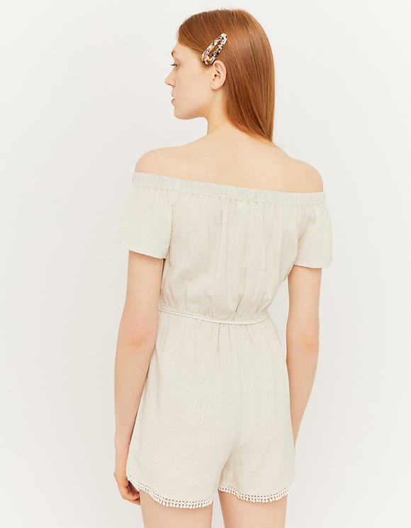 Beige Off-shoulder Playsuit
