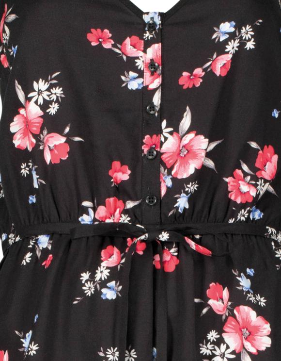 Czarny kombinezon w kwiaty
