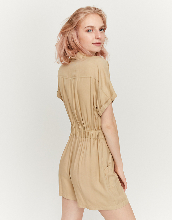 Beige Cargo Playsuit
