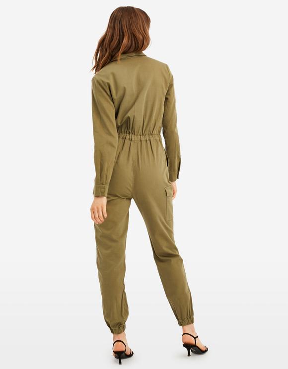 Khaki Utility Jumpsuit
