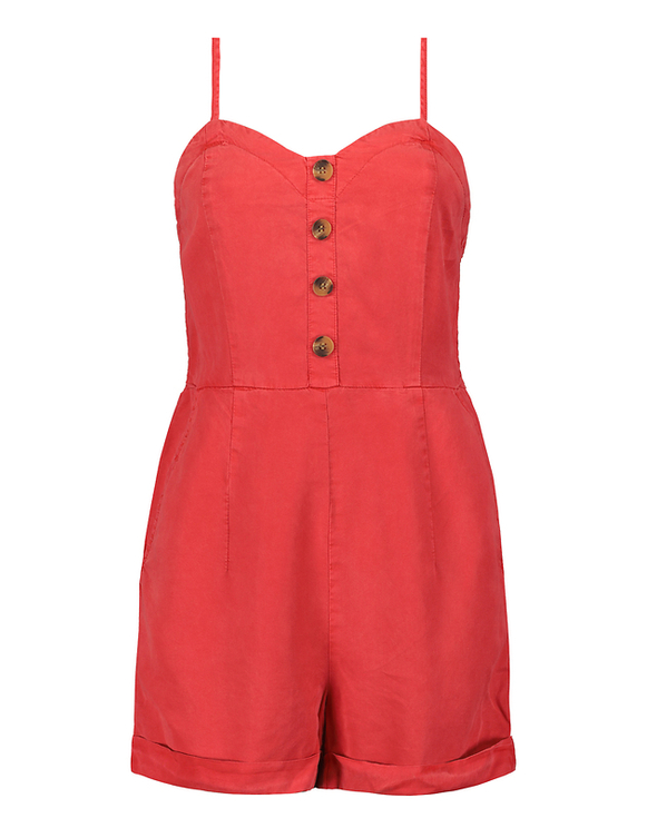 Red Loose Fit Playsuit