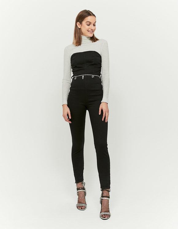 Black Skinny Jumpsuit with Strass Belt
