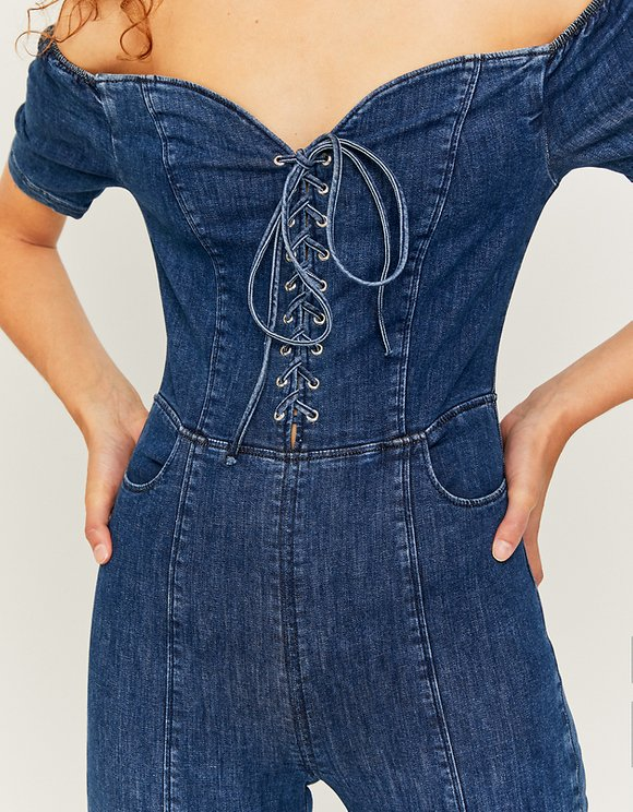 Denim figurbetonter Jumpsuit