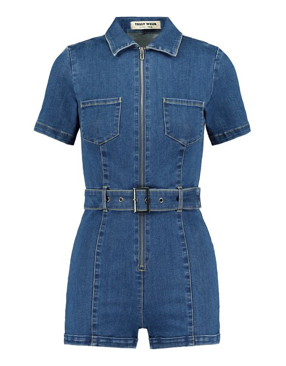 Denim Zipped Playsuit