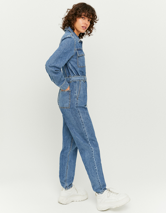 Denim Cargo Jumpsuit