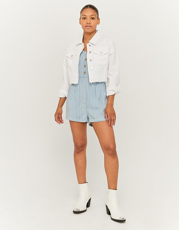 Striped Denim Loose Fit Playsuit