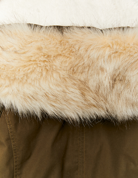Khaki Parka with Faux Fur Trim