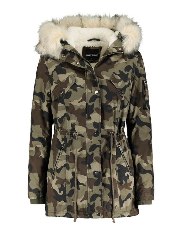 Camo Print Parka with Removable Faux Fur Trim