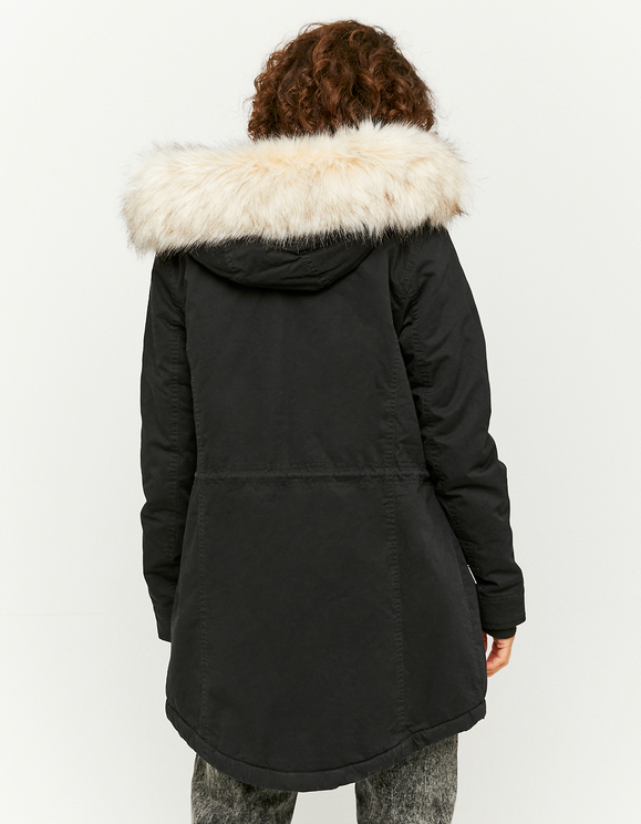 Black Parka with Faux Fur Lining