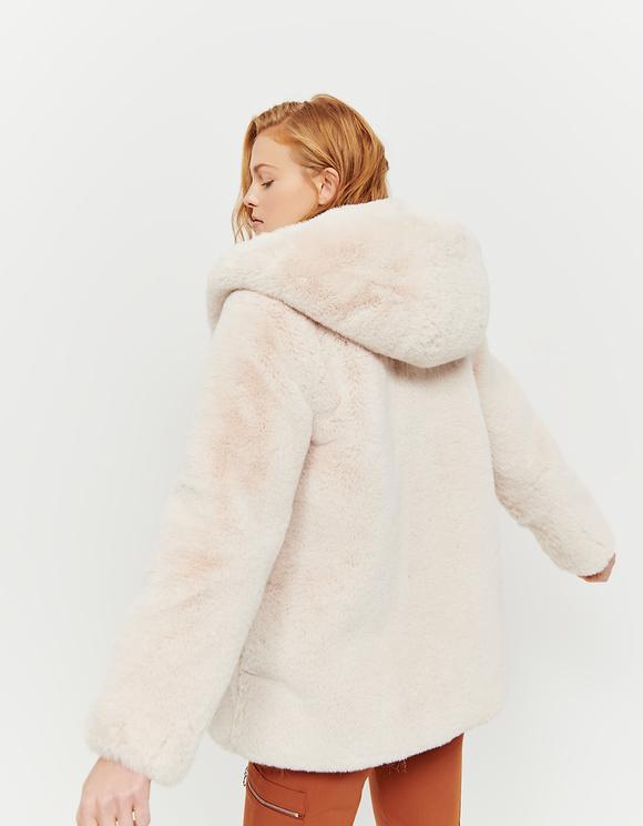 Beige Hooded Faux Fur Coat