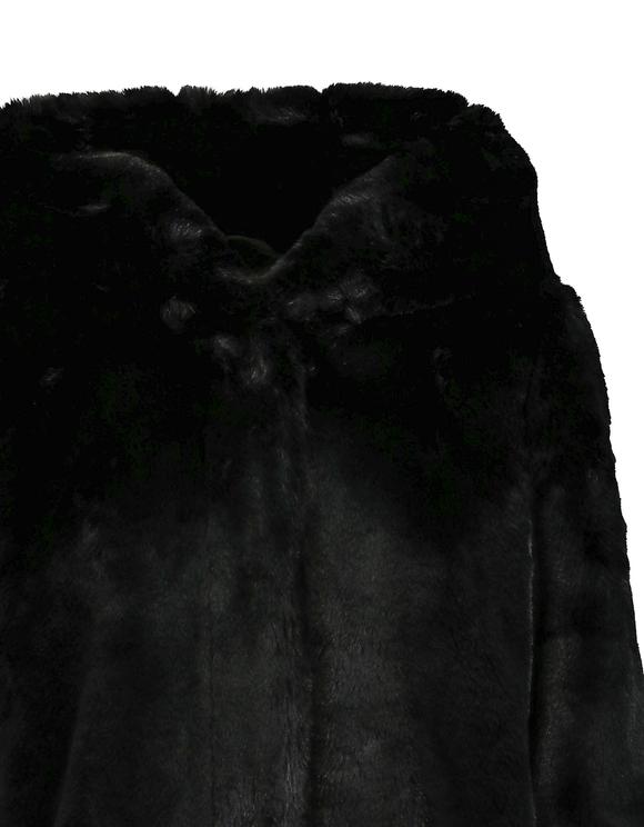 Black Hooded Faux Fur Coat