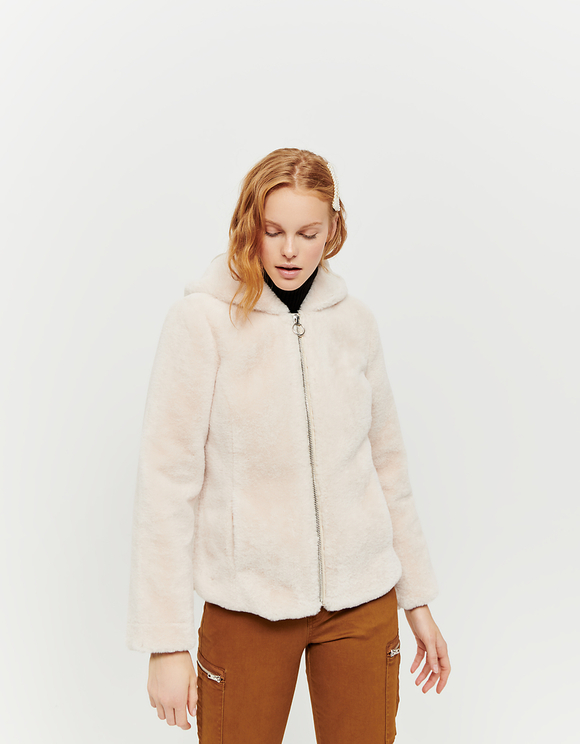 Beige Hooded Faux Fur Jacket