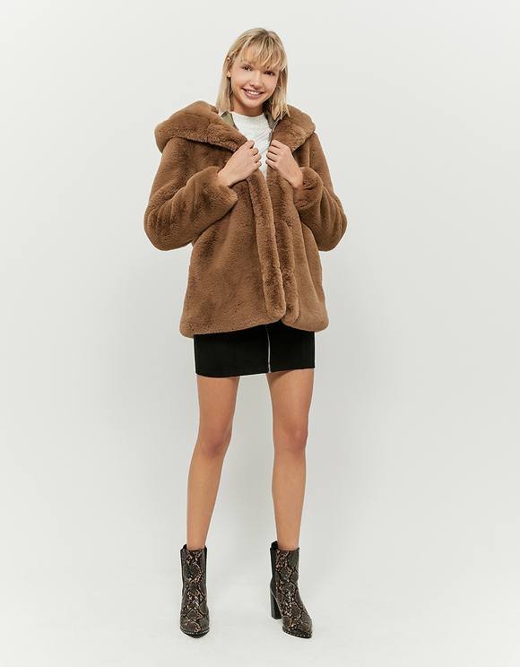Brown Hooded Faux Fur Coat