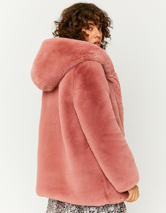 Manteau Rose en Fausse Fourrure à Capuche