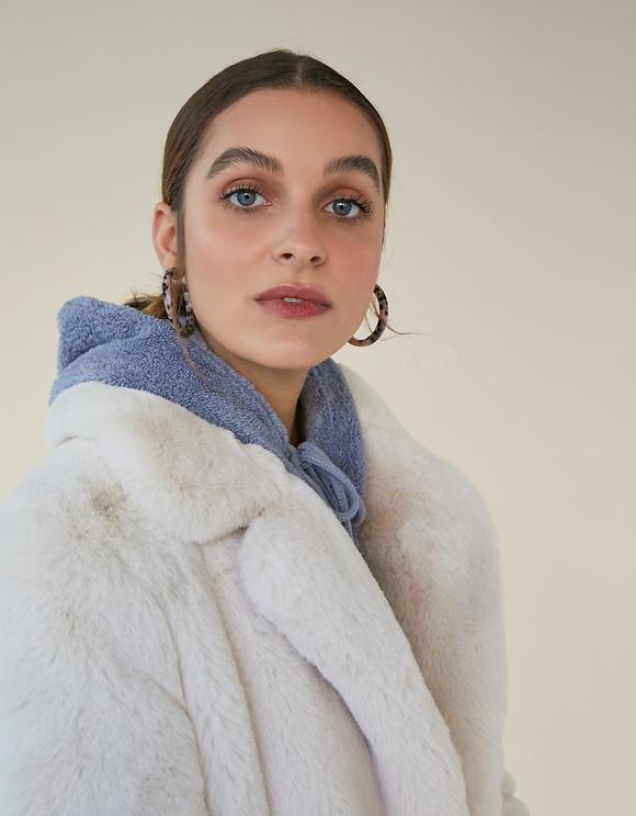 Off white Faux Fur Coat
