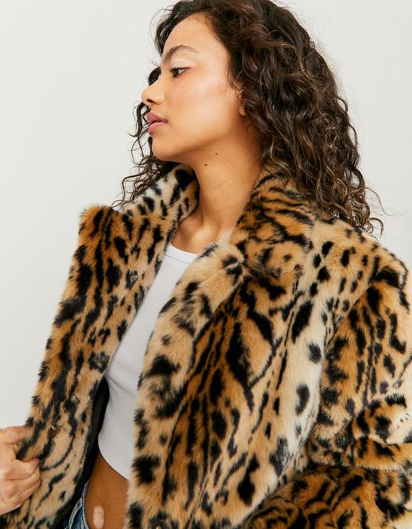 Leopard Print Faux Fur Coat Tally, White Long Line Faux Fur Zebra Print Coat