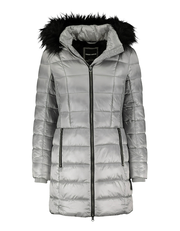 Silver Faux Fur Lined Puffer Coat with Removable Faux fur