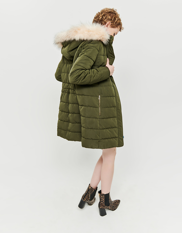 Green Faux Fur Lined Puffer Coat