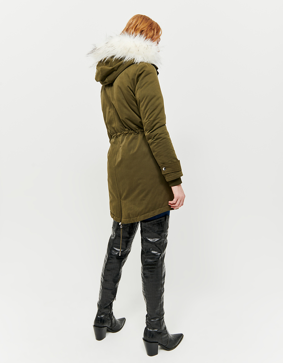 Hooded Padded Parka with Removable Faux fur