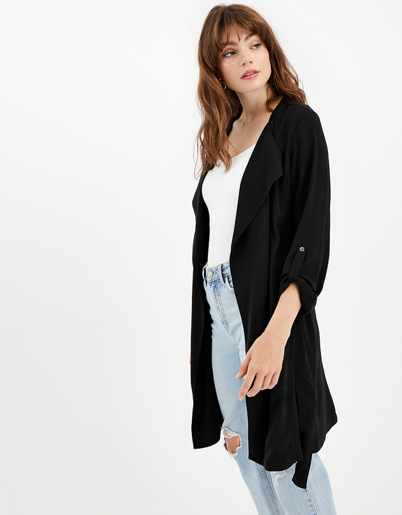 Black Wrap Front Duster Coat